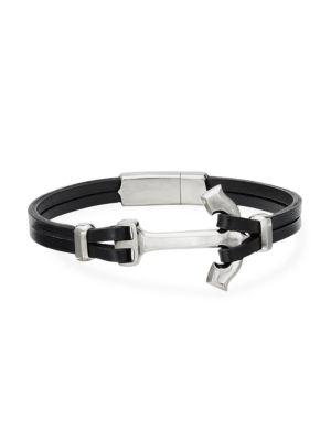 David Yurman Maritime Anchor Sterling Silver Leather Wrap Bracelet