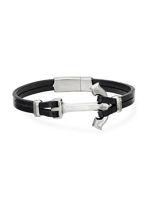 Maritime® Anchor Sterling Silver & Leather Wrap Bracelet