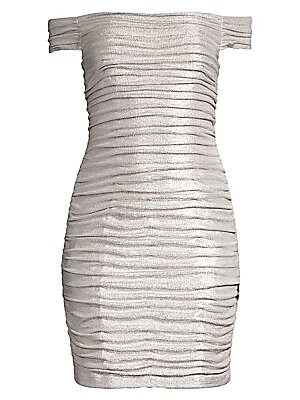"Image of Allover ruching enhances the foiled finish on this jersey cocktail dress with an alluring shoulder-baring neckline. Off-the-shoulder Short sleeves Back zip closure Lined Polyester/spandex Spot clean Imported SIZE & FIT Mini silhouette About 28.5"" from sho"