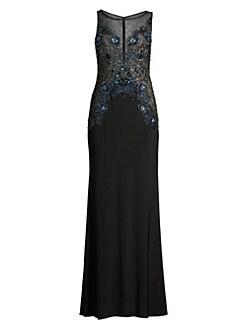 9709e7c60fc QUICK VIEW. Basix Black Label. Beaded Illusion Column Gown
