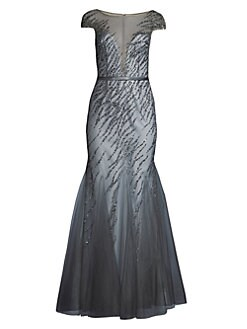 f801b6db278 Basix Black Label. Beaded Illusion Trumpet Gown