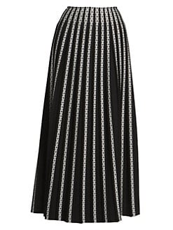 9f097f239 Alaïa. Plissé Striped Embroidered Maxi Skirt