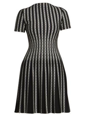 Twist Line Dress Knit Short Sleeve Blend Plissé Wool A e29YEDHWIb