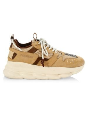 Versace Chain Reaction Chunky Sneakers In Beige Autumn Leaf