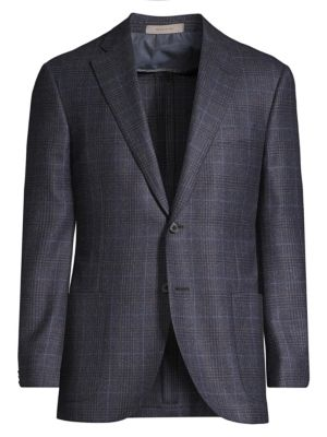Corneliani Regular Fit Leader Plaid Wool Single Breasted Jacket