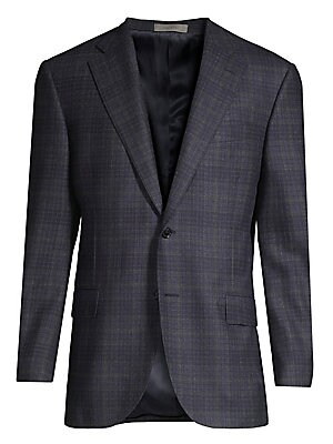 "Image of A classic plaid motif runs through this regular-fit blazer crafted of a luxe wool. Notch lapel Long sleeves Button front Chest welt pocket Waist flap pockets Wool Dry clean Made in Italy SIZE & FIT Regular fit About 30"" from shoulder to hem. Men Luxury Co"
