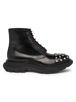 d163e0fccafe Studded Leather Combat Boots BLACK SILVER. QUICK VIEW. Product image