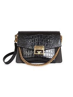 e5b40b3a13 QUICK VIEW. Givenchy. Small GV3 Croc-Embossed Leather Shoulder Bag
