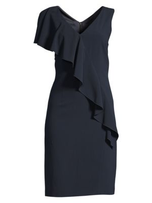 Elie Tahari Kailey Ruffle Front Crepe Dress