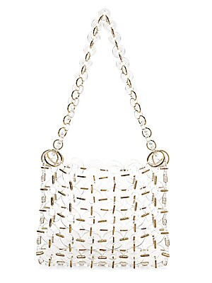 """Image of An on-trend take on a minimal shoulder bag style, crafted of clear acrylic rings with metal trim. Open top Acrylic Trim: Metal Imported SIZE Shoulder strap, 10.5"""" drop 10""""W x 8""""H x 1.75""""D. Handbags - Contemporary Handbags > Saks Fifth Avenue. Cult Gaia. C"""