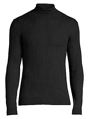 "Image of Abstract knit pattern adds texture to this cotton crewneck pullover. Turtleneck Long sleeves Pullover style Rib-knit trim Merino wool Dry clean Made in Italy SIZE & FIT About 28"" from shoulder to hem. Men Luxury Coll - Corneliani Clothing > Saks Fifth Ave"