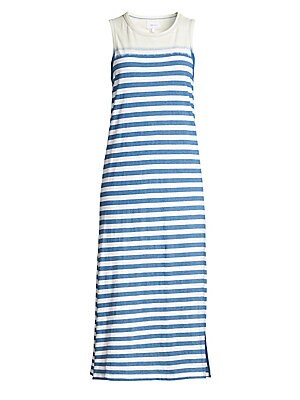 "Image of A faded stripe adorns this relaxed sleeveless cotton midi dress. Roundneck Sleeveless Pullover style Banded trim Cotton Hand wash Imported SIZE & FIT A-line silhouette About 50"" from shoulder to hem Model shown is 5'10"" (177cm) wearing US size Small. Cont"