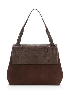 Nancy Gonzalez Medium Sophie Suede & Crocodile Shoulder Bag In Chocolate