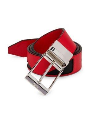 Fendi Men's Vit. Century Adjustable Leather Belt In Red Black Pall