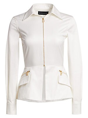 Image of Cut in a lustrous satin cotton, this spread collar top is a take on the white button-down shirt. Goldtone zips add glamour while the peplum creates shape. Spread collar Long sleeves Buttoned barrel cuffs Two-way zip front Waist zip pockets Split peplum he