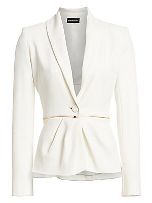 Image of A goldtone zip slices through this shawl collar blazer, injecting the silhouette with that expected note of glamour. Gathered details soften the tailored lines of the garment. Shawl collar Long sleeves Buttoned cuffs One-button front Viscose/wool/elastane