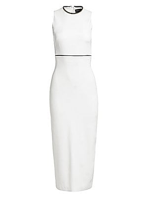 Image of A goldtone zip curves around the neckline, acting as glamorous punctuation on this sleeveless sheath. The garment is crafted in a stretch crepe fabrication ensuring both fit and comfort. Roundneck Sleeveless Concealed back zip closure Seamed waist Back sl