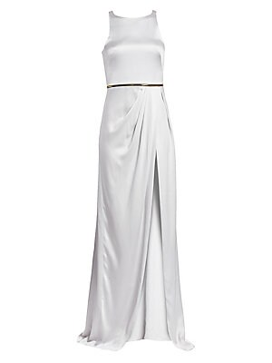 Image of A modern take on the Grecian gown, this silk charmeuse top features a sky-high slit framed by draping. A goldtone zip runs around the natural waist, underscoring the regal aesthetic. Boatneck Sleeveless Concealed back zip closure Zipped waist Draped detai