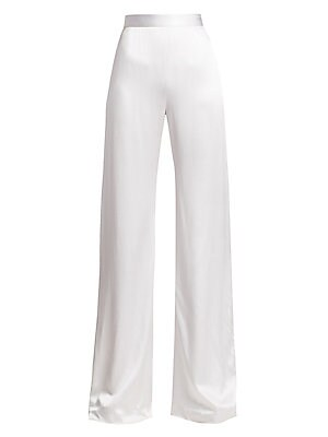 Image of Cut in lustrous sueded charmeuse, these wide-leg pants exude elegance. Wear under the coordinating draped top with a thigh-high slit for a contemporary take on event dressing. Banded waist Concealed back zip closure Silk Dry clean Made in USA SIZE & FIT W
