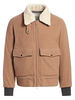 62ac03e19 Brunello Cucinelli. Shearling Collar Aviator Jacket