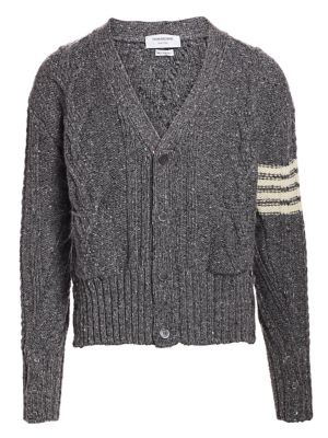Thom Browne Aran Wool Mohair Cable Knit Cardigan