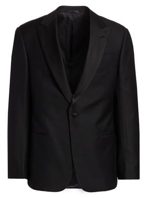 Giorgio Armani Jacquard Satin Lapel Single Breasted Wool Blazer