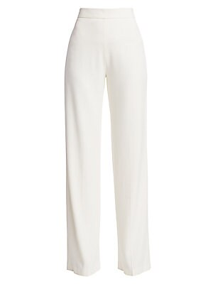 Image of Chic trousers offer a subtle nod to nautical styling - a high-waist silhouette that falls to a pleated wide leg - while retaining their elegant appeal. Although they are defined by minimal styling, they still exude a hint of sparkle with signature goldton