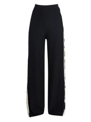 Stella Mccartney Monogram Wide-Leg Wool & Silk Trousers In Navy