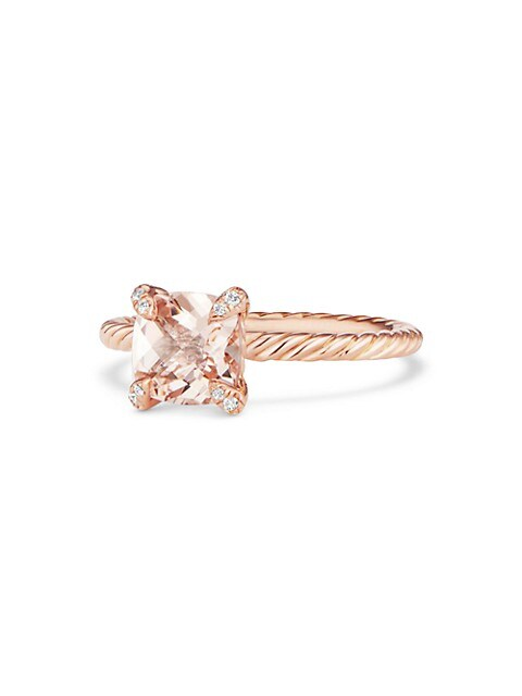 David Yurman Chatelaine 18k Rose Gold Morganite Diamond Ring Saksfifthavenue