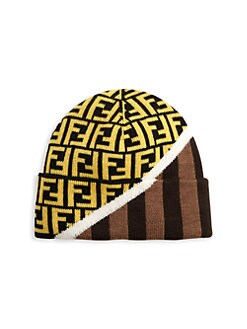 8ecaee1e915b FF Print & Striped Hat Wool Beanie BROWN YELLOW. QUICK VIEW. Product image