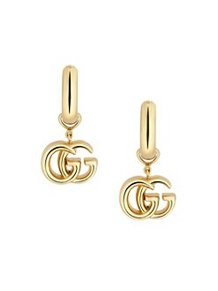 46d4bc6102d QUICK VIEW. Gucci. Running GG 18K Yellow Gold Logo Huggie Hoop Earrings