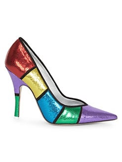 7330f3b847d98 QUICK VIEW. Attico. Colorblock Leather Stiletto Pumps