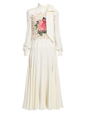 Valentino Dresses Lace Rose & Chain Scarfneck Maxi Dress