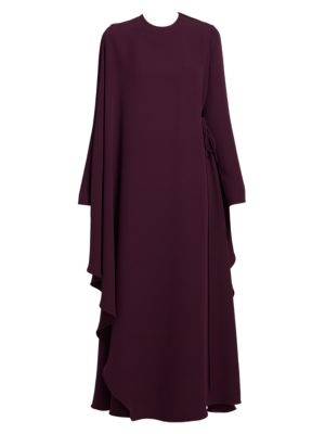 Valentino Dresses Draped Side-Tie Silk Cape Dress