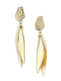 5e8867cd7f05 Akola. Vila Elory Blonde Horn   Goldtone Organic Overlay Drop Earrings