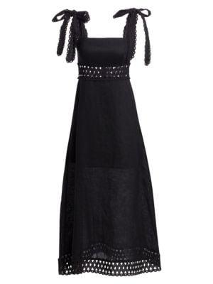 Zimmermann Verity Tie Shoulder Linen Maxi Dress