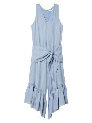 Tibi V-neck Sleeveless Ruffle-hem Jumpsuit In Blue Grey