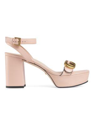 Gucci Platforms Marmont Leather Platform Sandals