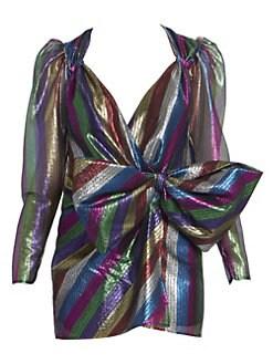 4fb39d0513fc8 Attico. Metallic Stripe Tulle Mini Dress
