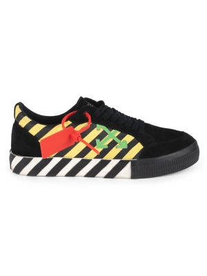 Off White Low Vulcanized Striped Arrow Sneakers