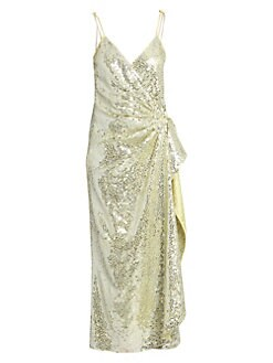 1284506ee92c Attico. Satin Paillettes Wrap Dress