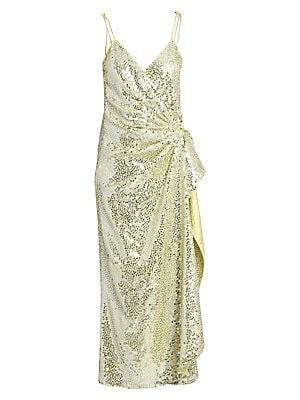 Image of A dazzling array of paillettes embellishes this disco-glam satin maxi, giving it a sense of depth and texture with a sparkling finish. It features a laissez-faire wrap silhouette with a fluttering panel at the hip and spaghetti straps that tie at the shou