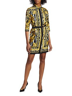 c1883cc1aa9 Silk Savage Baroque Print Shirtdress BLACK GOLD · Product image · Versace