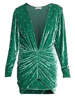 06472d0dba1ea Attico. Ruched Velvet Mini Dress