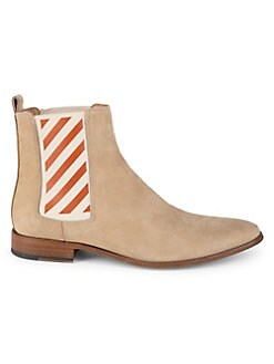 61d9cbcbc44 Off-White - Striped Gore Leather Chelsea Boots