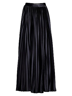 Image of Chic wide-leg pants made from recycled fabric in a breezy pleated design. Banded waist Concealed side zip with hook-and-eye closure Ruffled hems Organic cotton/elastane lining Recycled polyester Dry clean Imported SIZE & FIT Wide-leg silhouette Rise, abou