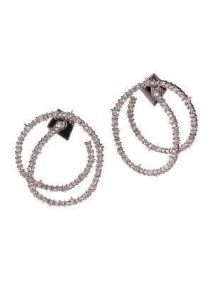 Alexis Bittar Crystal Encrusted Coil Link Post Earrings In Silver
