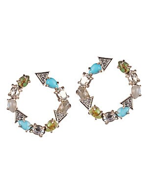 """Image of Alight with gemstones and crystals, these charming hoops boast Bohemian vibes. Labradorite Synthetic Turquoise Mojave Synthetic Turquoise Crystals 10K gold/rhodium-plated brass Imported SIZE Drop, about 1.1"""". Fashion Jewelry - Alexis Bittar > Saks Fifth A"""