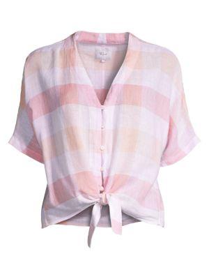 Rails Linens Thea Gingham Linen Tie-Front Shirt