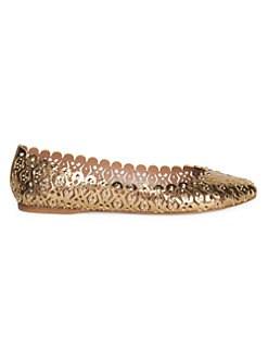 a136c0f9129c1 QUICK VIEW. Alaïa. Studded Metallic Leather Ballet Flats